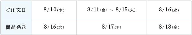 ご注文日 8/10(木) 商品発送 8/16(水) ご注文日 8/16(水) 商品発送 8/17(木)、8/18(金)